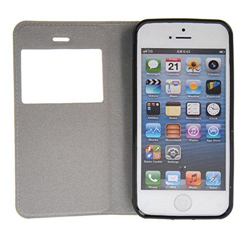 MOONCASE Coque pour iPhone 5 / 5S Slim Coque en Cuir Housse de Protection Étui à rabat Case /a10 a14