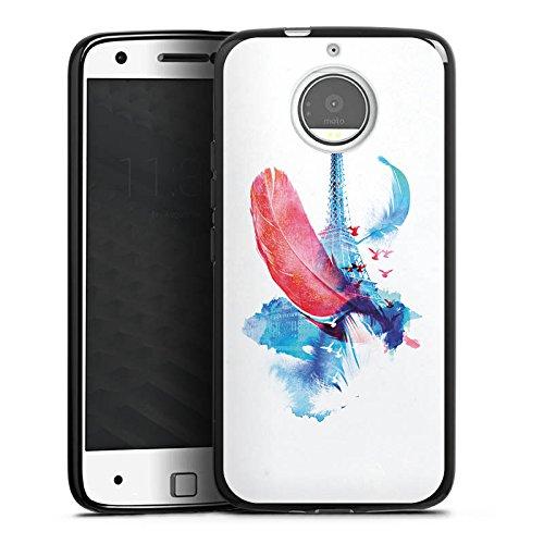 Motorola Moto X (2017) Hülle Silikon Case Schutz Cover Feder Art Eiffelturm