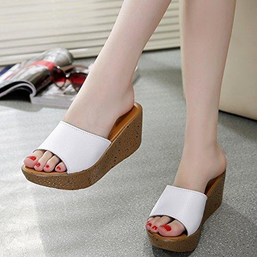 ZYUSHIZ Mme Ding Faites glisser Chaussons Sandales plage piscine au style minimaliste Version coréenne White