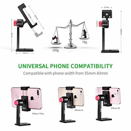 Smartphone Holder Tripod Adapter, Zecti Cellphone Holder Mount Used on Desk Tripod, Slider, Monopod, Selfie Stick 360 Degree Rotation- Black