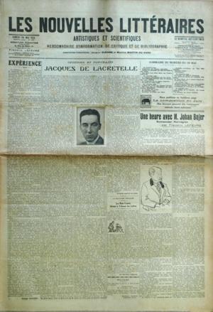 NOUVELLES LITTERAIRES (LES) N? 137 du 30-05-1925 EXPERIENCE PAR G. DUHAMEL JACQUES DE LACRETELLE PAR M. MARTIN DU GARD LES MOTS CROISES DEVANT LE TRIBUNAL DES LETTRES UNE HEURE AVEC M. JOHAN BOJER - ROMANCIER NORVEGIEN PAR F. LEFEVRE ACTUALITE SCIENTIFIQUE PAR BECQUEREL CHRONIQUE PAR M. BOISSARD REPETITION GENERALE POUR LES ROMANS PAR LEON TREIGH UN INEDIT DE VICTOR HUGO MON CURE CHEZ LES THEOLOGIENS PAR J.J. BROUSSON CHRONIQUE ARTISTIQUE PAR FEL par Collectif