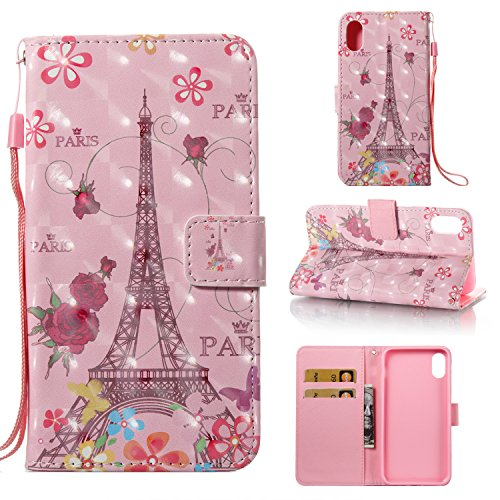 iPhone X Fall (5.8-inch), iphonex Cover [Handschlaufe], merkuyom [Spezial-3D-] [Standfunktion] Premium PU Leder Wallet Pouch Flip Cover Case Holster für Apple iPhone X, Pink Rose Flower Tower