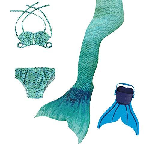 Meerjungfrau Grün Schwanz Kostüm - DECOOL 2018 Neu Mädchen Meerjungfrau Schwanz Badeanzug - Prinzessin Cosplay Bademode für das Schwimmen mit Bikini Set und Monoflosse,3-12 Jahre alt