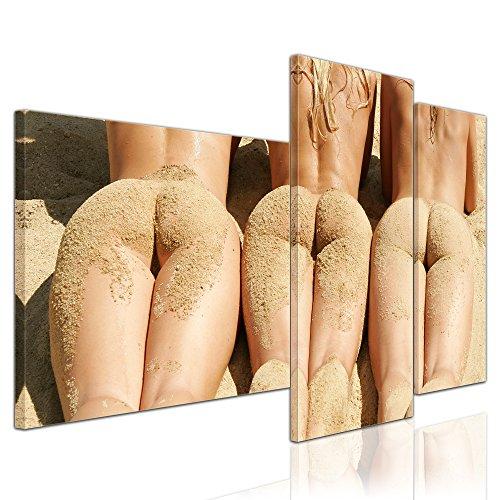 Kunstdruck - Frauen am Strand - Bild auf Leinwand - 130x80 cm 3 teilig - Leinwandbilder - Bilder als Leinwanddruck - Akt & Erotik - Schönheiten am Meer