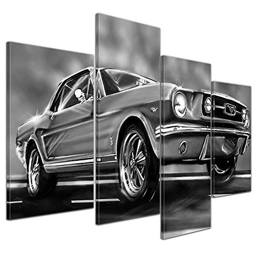 """Bilderdepot24 Cuadros en Lienzo """"Mustang Graphic - blanco y negro"""" - 120x80 cm 4 piezas - Enmarcado listo Bastidor imagen. directamente desde el fabricante"""