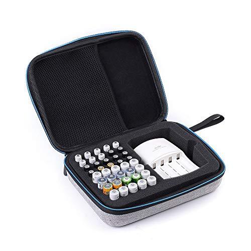 Weehey Aufbewahrungsbox für 40 AA AAA-Batterien mit Netzfach für Ladegeräte Stoßfester Hartschalenkoffer Beutelhalter Organizer Container