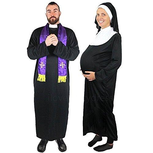 NONNEN KOSTÜME VERKLEIDUNG VARIATIONEN = SUPER AUSWAHL FÜR FASCHING KARNEVAL ODER HALLOWEEN = DAS KOSTÜM IST ERHALTBAR IN 5 VERSCHIEDENEN GRÖSSEN + KOMMT MIT EINER SCHWARZ/WEISSEN NONNEN HAUBE = ODER - Für Lustige Frauen Schwangere Halloween-kostüme