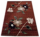 A RAHMAN CARPET THE MOST PREFER FLORAL DESINE 0.5 MM 0.6 PILE HIGHT COLOR RUST AND CREEM AND MAROON 5 x 7  210×150  available at Amazon for Rs.6299