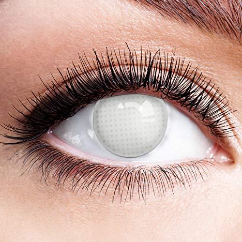 Farbige Kontaktlinsen Motivlinsen Weiß Ohne Stärke mit Motiv Fun Linsen Halloween Karneval Party Fasching Cosplay Kostüm White Grey Screen