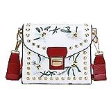 T-Antrix 2017 Damen Stickerei Kleine quadratische Tasche Damentasche Schultertasche Umhängetasche bunte Nieten Crossbody Tasche Für Mädchen Frauen