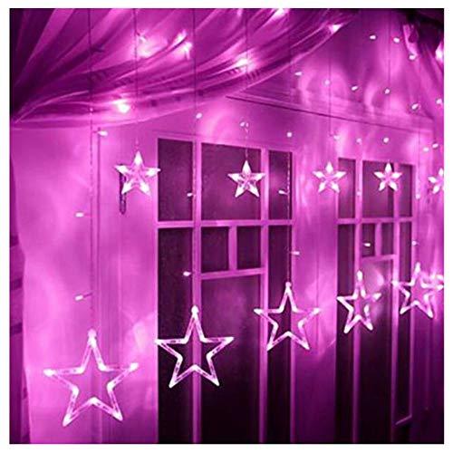 CHUDAN Star Star Vorhang Lichter 138 LED Batterie Box USB Dual-Use-Fernbedienung Stern Vorhang Wasserdicht Indoor Outdoor Fensterbank Dekorative Licht String-Multicolor,Pink -