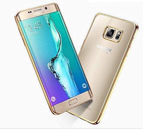 Hamee Meephone Electroplated Edge Ultra Thin TPU Flexible Back Case Cover for Samsung Galaxy S7 Edge- Gold