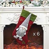 6 pcs Weihnachtsstrumpf, Geschenktüte, Weihnachtsbaumschmuck, Weihnachtsmann Anhänger,...