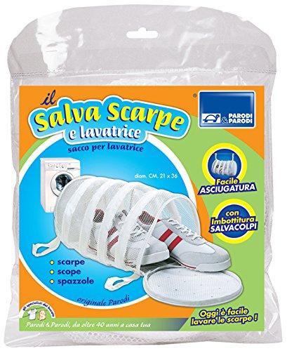 Parodi&Parodi, il salva scarpe e lavatrice, art. 165, sacco rete imbottito per lavatrice proteggi scarpe, spazzole, mop, misura 21x34, grazie all'imbottitura attutisce i colpi durante il lavaggio