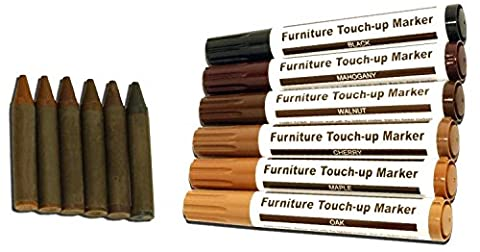 Total Furniture Repair System - 12Pc Scratch Restore & Repair Touch-Up Kit - Felt Tip Markers, Wax Stick Crayons. by RamPro
