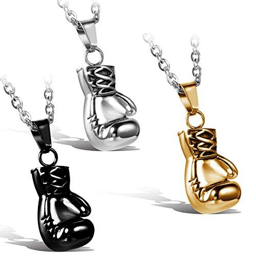 Jewelrywe gioielli collana con pendente da uomo donna,prepotente personalita boxing gloves ciondolo,acciaio inox,regalo di san valentino (argento nero gold)