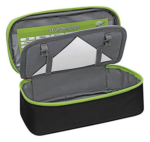 Wedo 24243011 Mäppchen Schlamperbox, Polyester, Innenklappe, Reißverschlussfach Schwarz / Hellgrün