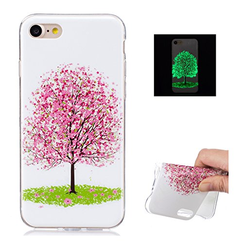 TPU Silicone Custodia per iPhone 7 Cover,per iPhone 8 Cover, ZCRO Custodia Silicone Morbido Flessibile Gomma Luminoso Creativo Disegno Colorate Modello Copertina Shell Case Ultra Sottile Slim Protetti Albero