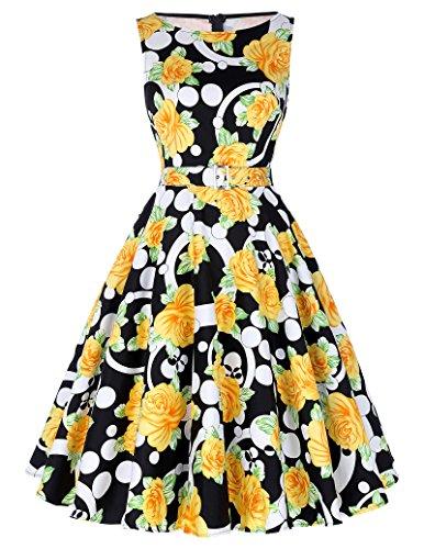 Belle Poque® 50s Vintage Rockabilly Kleid Blumenkleid Partykleider Cocktailkleider GD000002 BP002-11