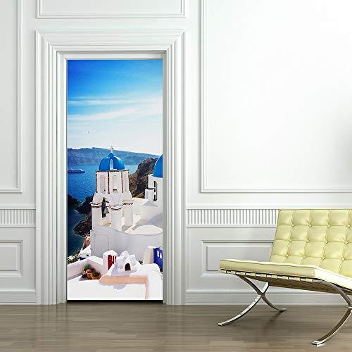 NBLYZT Autocollant De Porte Grèce Santorin Bleu Blanc Ville Détachable Vinyle Décoration Murale Maison Cuisine Décoration 77x200cm