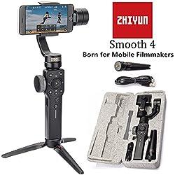 Zhiyun Smooth 4 Estabilizador de cardán manual de 3 ejes Capacidad de enfoque y extracción de zoom, Experto en tiempo, Seguimiento de objetos, Carga bidireccional, Modo Phonego para transición de escena instantánea para iPhone X / 8 Plus / 7 / SE Samsung Galaxy S9 + / S8 / S7 / S6 Huawei, etc. Smartphones (negro)