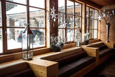 """Poster-Bild 140 x 90 cm: """"modern wooden interior at Alpine ski resort"""", Bild auf Poster"""