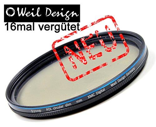 Polfilter POL circular slim 55mm XMC Digital Weil Design Germany - SYOOP - * Kräftigere Farben * 5 mm flache Metallfassung * mit Frontgewinde, * 16 fach XMC vergütet * inkl. Filterbox * zirkulare