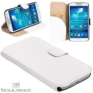 Bouletta ® Samsung Galaxy S4 IV Hülle Echt Leder Book Case Ledertasche Tasche Schutzhülle Cover Etui, Mit Standfunktion und Kartfach, Handarbeit, WalletCase Duzz Weiss