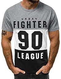253bcbd1c7e46 Camiseta de Manga Corta para Hombre Moda Estampado Cartas Cuello Redondo  Tops de Hombre Cómodo Transpirables