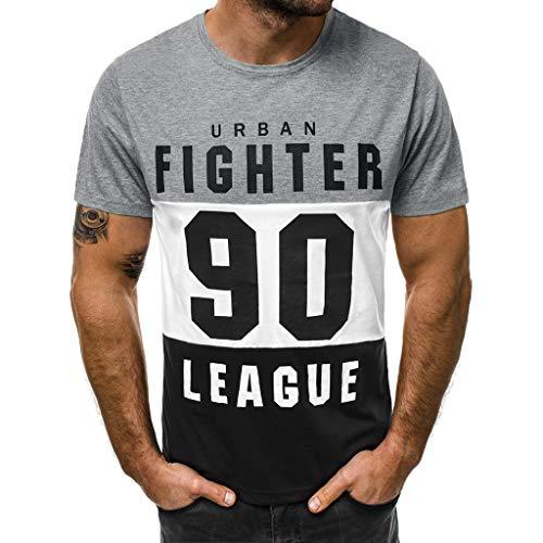 Dtuta Art- Und WeisemäNner BeiläUfige DüNne Buchstabe-Druck-Kurzarm-T-Shirt Joker Bequeme Sportart