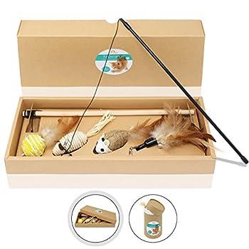 Amazy Cannes à pêche pour chat ? Lot de jouets pour amuser votre chat et animer son quotidien (lot de 4)