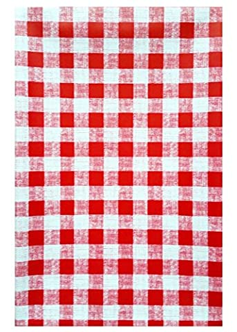 Wachstuch Tischdecke 140cm rund rot weiß kariert, abwaschbar