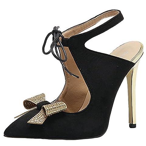 Oasap Women's Pointed Toe High Heels Bow Slingback Pumps, Black EURO35/US4/UK2