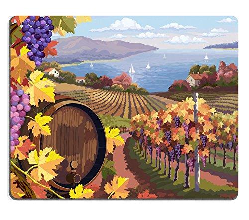Luxlady Gaming Mousepad Image ID: 24595898paesaggio rurale con vigneto UVA e grappoli e barile di legno per vino