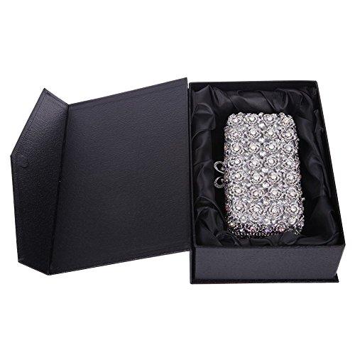 Santimon Clutch Delle Donne Di Rosa Borsellini Diamante Cristallo Boresetta Borse Da Festa di Nozze Sera Con Tracolla Amovibile E Pacco Regaio 7 Colori argento