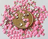 100pc Square Hot Neon Metal Studs 3mm 3D Acrylic Nail Art Decoration Cellphone Case (High Quality) USA SELLER! FAST SHIPPING! (Neon Tiffany Pink)