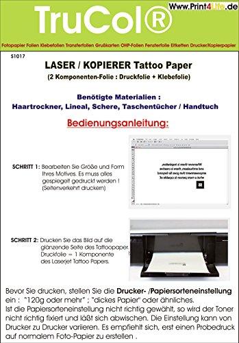 Tattoo - Transferfolie FÜR DIE Haut - zum aufkleben und selbst gestalten - für Laserdrucker und Kopierer (A4 - 5 Blatt) - Tattoofolien