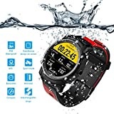 Xwly-sw Outdoor Sports Watch GPS Fitness Tracker Herzfrequenz-Monitor Pedometer Sleep Monitoring Bluetooth Smartwatch, die IP68 Waterproof für Android/iOS Schwimmen kann,Red