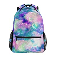 Hunihuni Unicorn Cloud Galaxy Durable Backpack College School Book Shoulder Bag Daypack for Boys Girls Man Woman