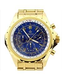 ORKINA PO004-S-Gold/Blue - Reloj para hombres, correa de acero inoxidable color plateado