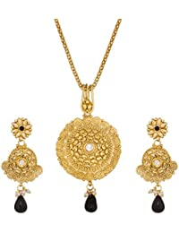 Aadita Gold Plated Royal Pendant Set With Earrings For Women