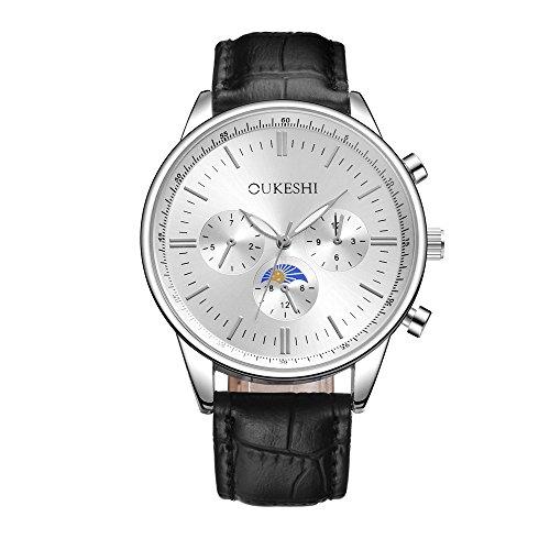 LABIUO Neue Auflistung Edelstahl-Rundglasgehäuse Uhr Retro Zeiger Dornschließe Uhr(D,Freie Größe)