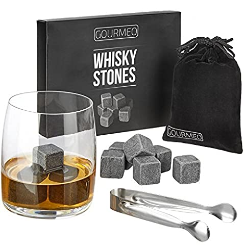 GOURMEO Whisky Stones Gift Set from natural soapstone, 9 pieces, with velvet gift pouch, perfect for keeping your whiskey, scotch or wine cool | 2 Year Satisfaction Guarantee | drink rocks, cooling whisky cubes, reusable chilling