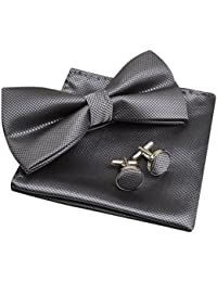 Solid Pre-tied Bow Tie Cufflinks Hanky Set for Men Neck Wear, Dark Grey