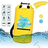 WOTEK Borsa Impermeabile a Tracolla Regolabile 20L Kit 3 in 1 Sacca Acqua Resistente Custodia Case per Cellulare Waterproof Zaino per Nuoto Sci Pesca Trekking Surf Rafting Campeggio Nautica Giallo