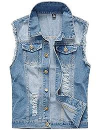 Homme Blouson Slim Casual Veste en Denim sans Manche Déchiré Gilet Jean  Veste Cowboy Homme Veste Jeans Slim Casual Blouson Veste… 8a154e00fb0c