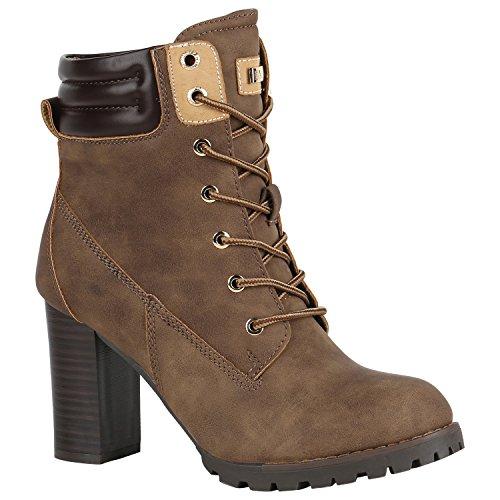 Damen Schuhe Schnürstiefeletten Worker Boots Stiefeletten Block Absatz 150552 Khaki Autol 36...