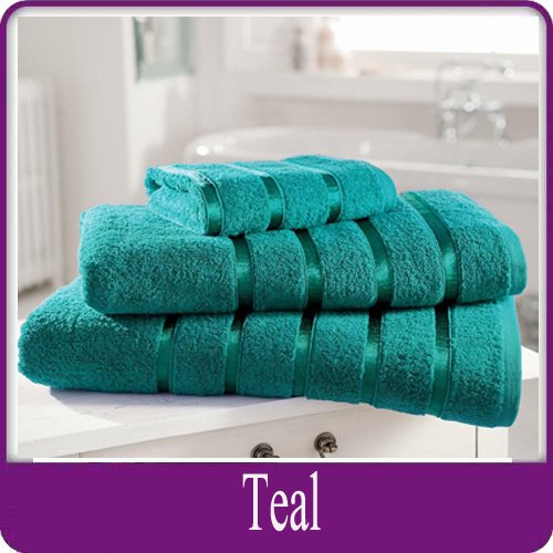 Egyptian Cotton Towel Luxury Pair Of Bath Sheets 100% Cotton 600gsm Satin Stripe Towel, Teal by HOME IS HEAVEN -