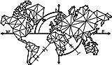 Homemania Decorazione da Parete Mappamondo Nero, in Metallo. Arte Casa Decoro. per Soggiorno, Ufficio, Muro, Planisfero, M
