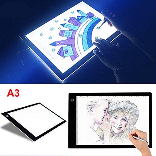 Espesor 8mm LED Caja de luz de Trazado Tablero Plantilla de Dibujo Almohadilla de Luz para Diseño Artístico de Patrón (A3)